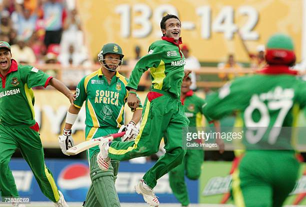 Sakib Al Hasan of Bangladesh celebrates the wicket of Justin Kemp of South Africa caught and bowled during the ICC Cricket World Cup Super Eights...