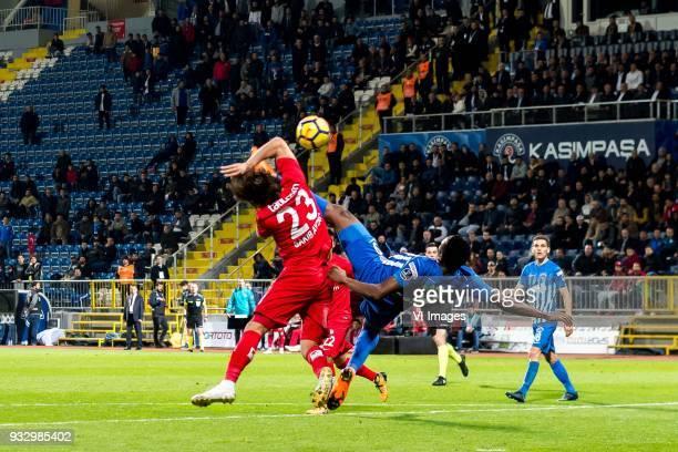 Sakib Aytaç of Antalyaspor AS BangalyFodé Koita of Kasimpasa AS during the Turkish Spor Toto Super Lig match between Kasimpasa AS and Antalyaspor AS...