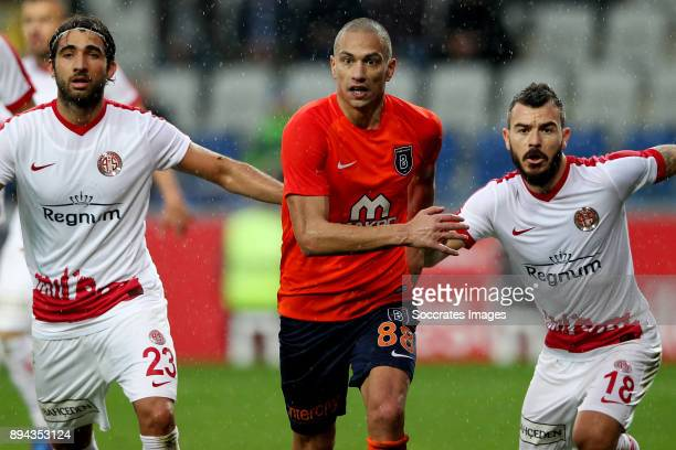 Sakib Aytac of Antalyaspor Gokhan Inler of Istanbul Basaksehir Yekta Kurtulus of Antalyaspor during the Turkish Super lig match between Istanbul...