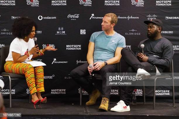Sakina Kamwendo Chris Martin and Kweku Mandela participate in a panel discussion ahead of Global Citizen Festival Mandela 100 at Sandton Convention...