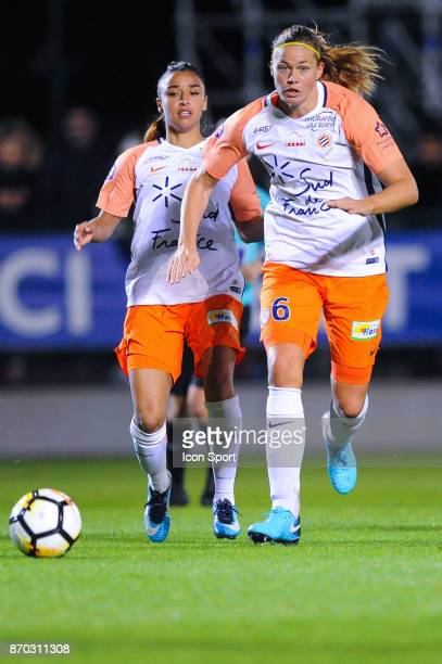 Sakina Karchaoui and Manieke Anouk Dekker of Montpellier during the French Women's Division 1 match between Paris Saint Germain and Montpellier on...