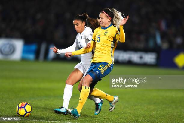 Sakina Karchaoui of France and Hanna Glas of Sweden Ines Jaurena of France during the Women's friendly international match between France and Sweden...