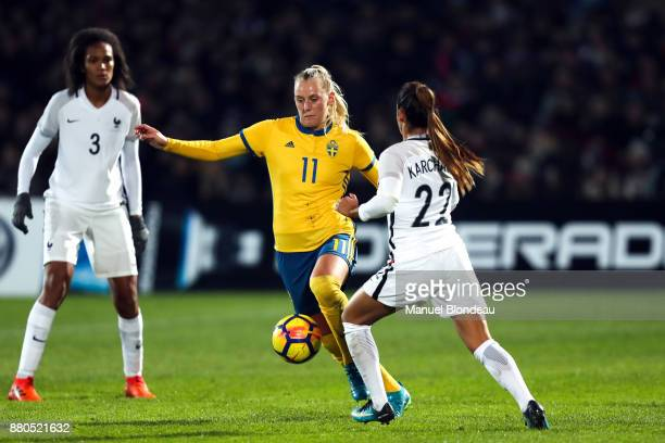 Sakina Karchaoui of France and Stina Blackstenius of Sweden Ines Jaurena of France during the Women's friendly international match between France and...