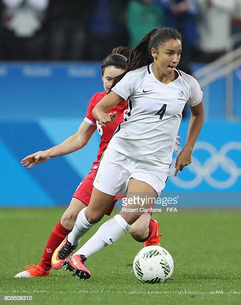 Sakina Karchaoui of France controls the ball during the Women's Football Quarter Final match between Canada and France on Day 7 of the Rio 2016...