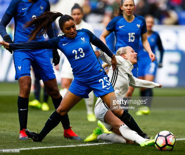 Sakina Karchaoui of France fights for the ball with Mandy Islacker of Germany during their match at Red Bull Arena on March 4 2017 in Harrison New...