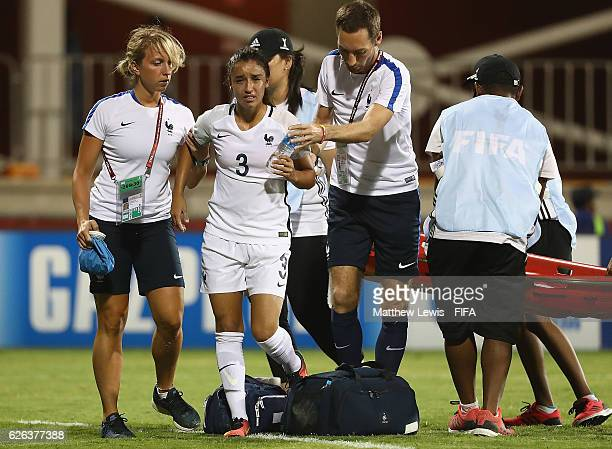Sakina Karchaoui of France receives treatment during the FIFA U20 Women's World Cup Papua New Guinea 2016 Semi Final match between Japan and France...