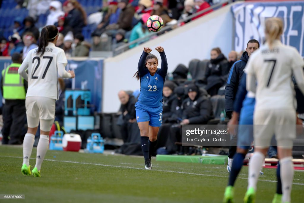 Sakina Karchaoui #23 of France takes a throw-in during the France Vs Germany SheBelieves Cup International match at Red Bull Arena on March 4, 2017 in Harrison, New Jersey.