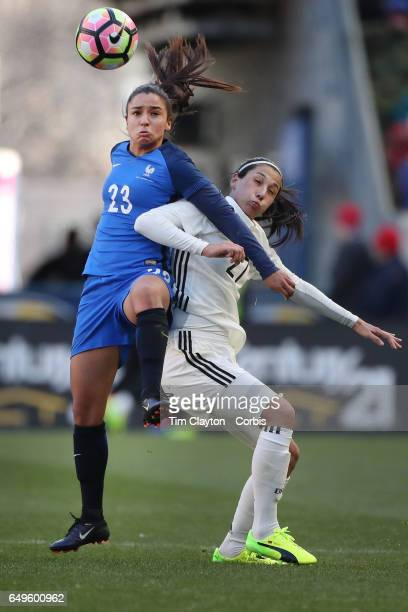 Sakina Karchaoui of France wins the ball while challenged by Sara DoorsounKhajeh of Germany during the France Vs Germany SheBelieves Cup...