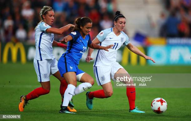 Sakina Karchaoui of France Women is crowded out by Jordan Nobbs and Jade Moore of England Women during the UEFA Women's Euro 2017 match between...