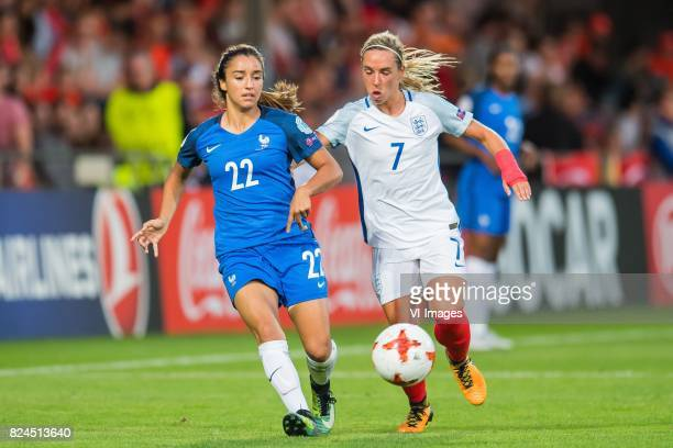 Sakina Karchaoui of France women Jordan Nobbs of England women during the UEFA WEURO 2017 quarter finale match between England and France at The...