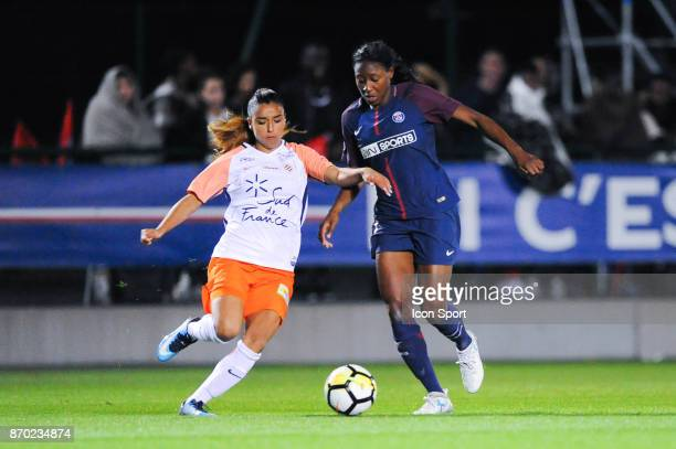 Sakina Karchaoui of Montpellier and Kadidiatou Diani of PSG during the French Women's Division 1 match between Paris Saint Germain and Montpellier on...