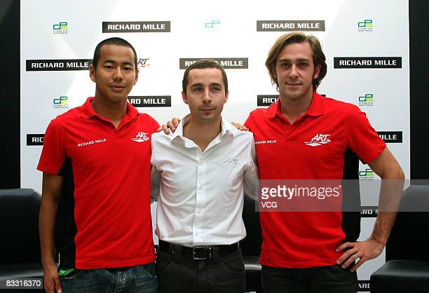 Sakon Yamamoto Nicolas Todt and Nelson Philippe of the ART GP2 team attends a press conference on October 16 2008 in Shanghai China
