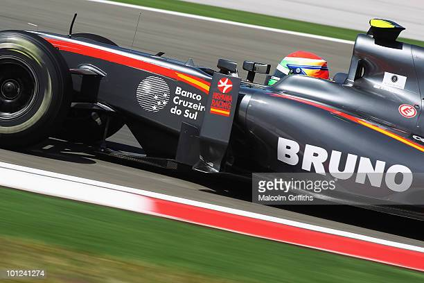 Sakon Yamamoto of Japan and Hispania Racing drives during practice for the Turkish Formula One Grand Prix at Istanbul Park on May 28 in Istanbul...