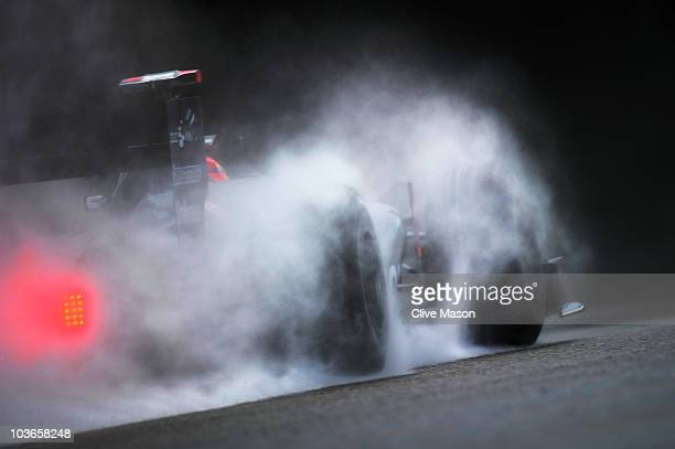 Sakon Yamamoto of Japan and Hispania Racing drives during practice for the Belgian Formula One Grand Prix at the Circuit of Spa Francorchamps on...
