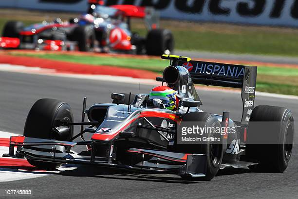 Sakon Yamamoto of Japan and Hispania Racing Team drives during practice for the British Formula One Grand Prix at Silverstone on June 9 in...