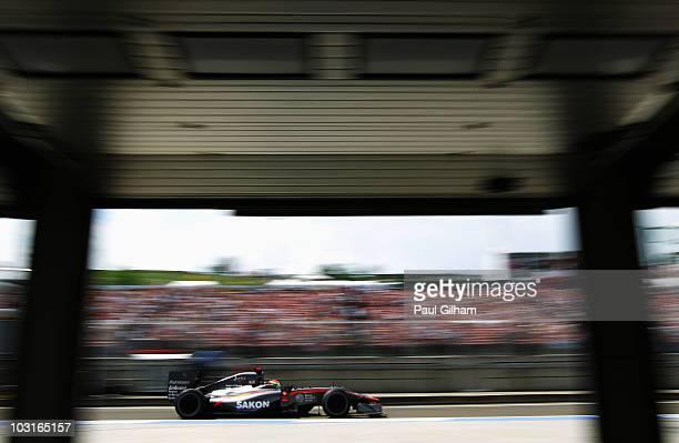 Sakon Yamamoto of Japan and Hispania Racing Team drives during practice for the Hungarian Formula One Grand Prix at the Hungaroring on July 30 2010...