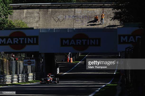 Sakon Yamamoto of Japan and Hispania Racing Team drives during practice for the Italian Formula One Grand Prix at the Autodromo Nazionale di Monza on...