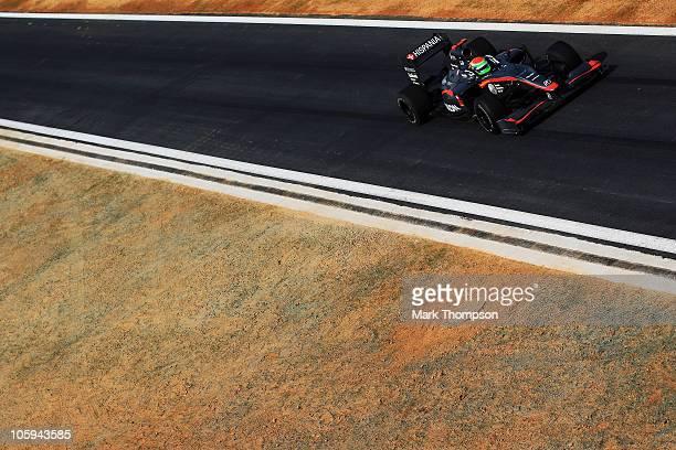 Sakon Yamamoto of Japan and Hispania Racing Team drives during practice for the Korean Formula One Grand Prix at the Korea International Circuit on...