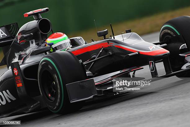 Sakon Yamamoto of Japan and Hispania Racing Team drives during the final practice session prior to qualifying for the German Grand Prix at...