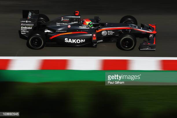 Sakon Yamamoto of Japan and Hispania Racing Team drives during the final practice session prior to qualifying for the Belgian Formula One Grand Prix...
