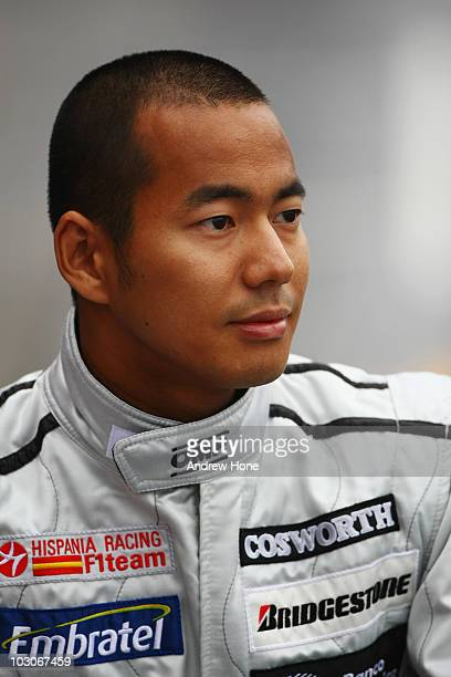 Sakon Yamamoto of Japan and Hispania Racing Team prepares to drive during qualifying for the German Grand Prix at Hockenheimring on July 24 2010 in...