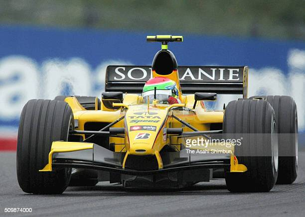 Sakon Yamamoto of Japan and Jordan is seen in action in his first official Formula One appearance during the practice for the Japan F1 Grand Prix on...