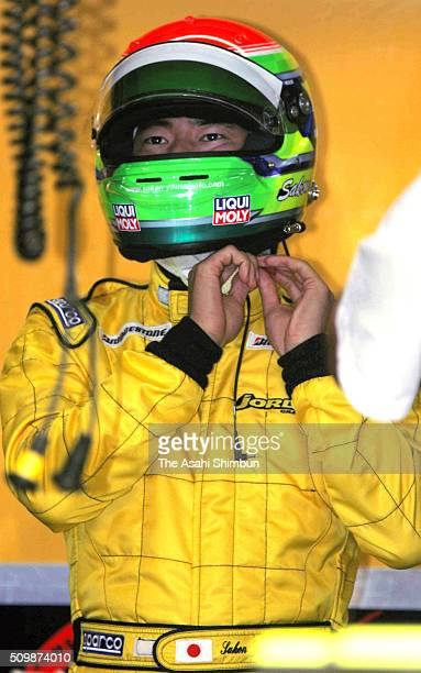Sakon Yamamoto of Japan and Jordan is seen in the garage during the practice for the Japan F1 Grand Prix on October 7 2005 in Suzuka Mie Japan
