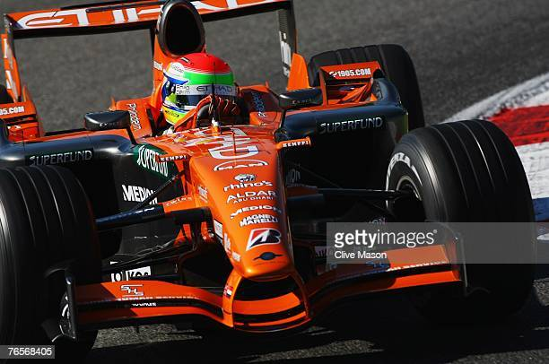 Sakon Yamamoto of Japan and Spyker F1 drives during practice for the Italian Formula One Grand Prix at the Autodromo Nazionale di Monza on September...