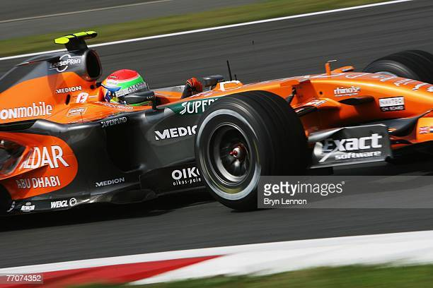 Sakon Yamamoto of Japan and Spyker F1 drives during practice for the Japanese Formula One Grand Prix at the Fuji Speedway on September 28 2007 in...