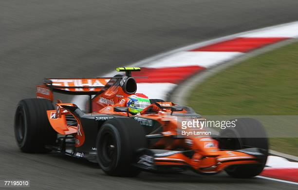 Sakon Yamamoto of Japan and Spyker F1 drives during practice for the Chinese Formula One Grand Prix at the Shanghai International Circuit on October...