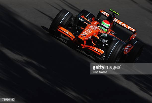 Sakon Yamamoto of Japan and Spyker F1 drives during qualifying for the Italian Formula One Grand Prix at the Autodromo Nazionale di Monza on...