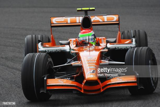 Sakon Yamamoto of Japan and Spyker F1 drives during the Belgian Formula One Grand Prix at the Circuit of Spa Francorchamps on September 16, 2007 in...