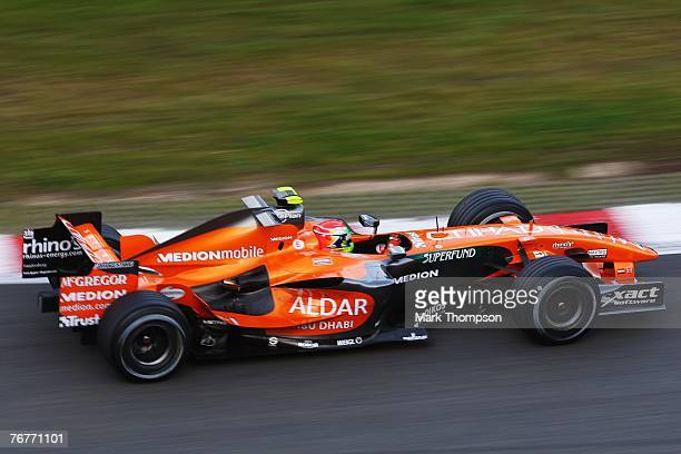 Sakon Yamamoto of Japan and Spyker F1 drives in the warm up session prior to qualifying for the Belgian Formula One Grand Prix at the Circuit of Spa...
