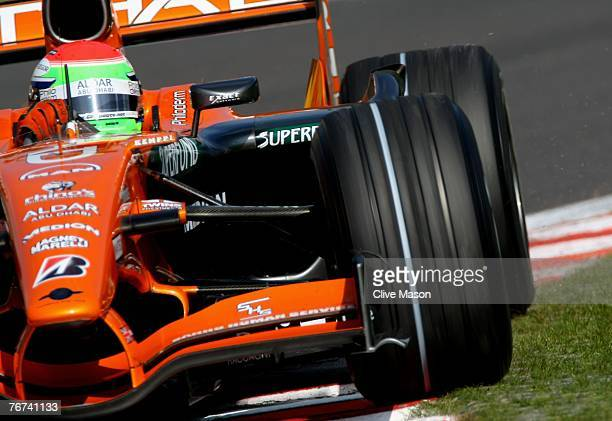 Sakon Yamamoto of Japan and Spyker F1 in action during practice for the Belgian Formula One Grand Prix at the Circuit of Spa Francorchamps on...