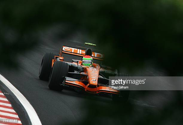 Sakon Yamamoto of Japan and Spyker F1 in action during practice for the Brazilian Formula One Grand Prix at the Autodromo Interlagos on October 19,...