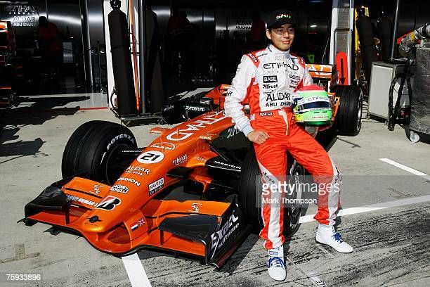 Sakon Yamamoto of Japan and Spyker F1 poses for the media during the Hungarian Formula One Grand Prix Previews at the Hungaroring on August 2 in...
