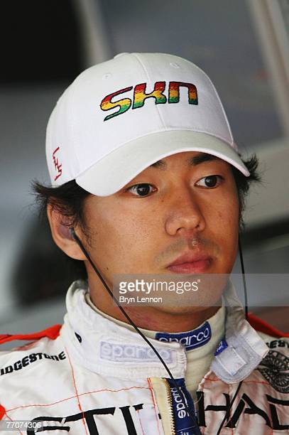 Sakon Yamamoto of Japan and Spyker F1 prepares to drive during practice for the Japanese Formula One Grand Prix at the Fuji Speedway on September 28...
