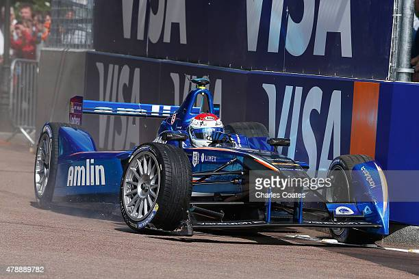 Sakon Yamamoto of Japan crashes out becoming the first retirement of the Formula E race at Battersea Park Track on June 28 2015 in London England
