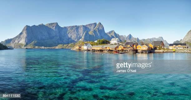 sakrisoy village panoramic, lofoten, norway - lofoten stock pictures, royalty-free photos & images
