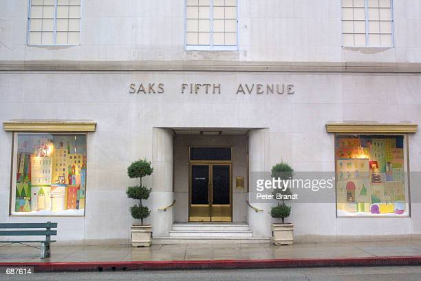 Saks Fifth Avenue sign is on display above the department store December 14 2001 in Beverly Hills CA Actress Winona Ryder was arrested on December 12...