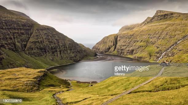 saksun harbor fjord panorama faroe islands streymoy island - mlenny stock pictures, royalty-free photos & images