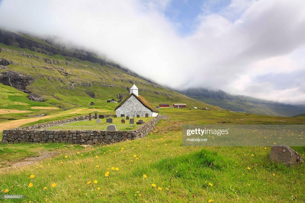 Saksun picturesque village of Streymoy. Faroe Islands. : Stock Photo