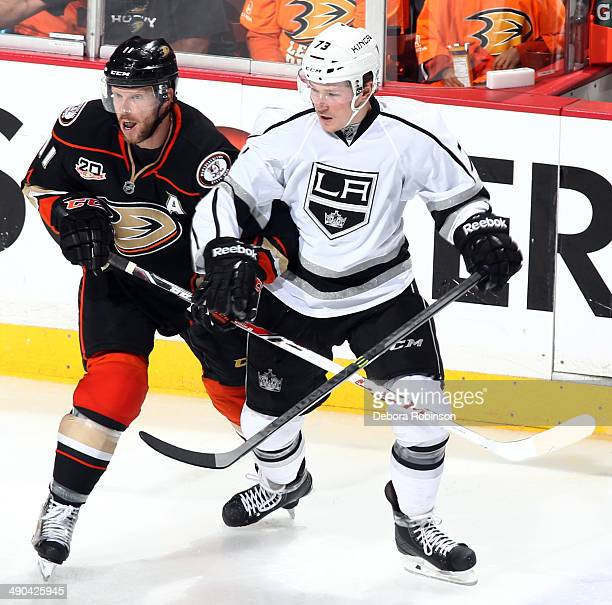 Saku Koivu of the Anaheim Ducks battles for position against Tyler Toffoli of the Los Angeles Kings in Game One of the Second Round of the 2014...