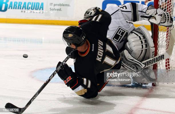 Saku Koivu of the Anaheim Ducks collides against Jonathan Quick of the Los Angeles Kings during the game on November 17 2011 at Honda Center in...