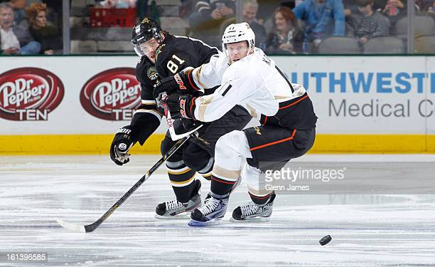 Saku Koivu of the Anaheim Ducks tries to keep the puck away against Tomas Vincour of the Dallas Stars at the American Airlines Center on February 8...