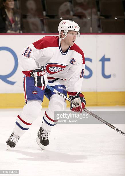 Saku Koivu of the Montreal Canadiens prior to the game against the Colorado Avalanche on January 11 2006 at Pepsi Center in Denver Colorado
