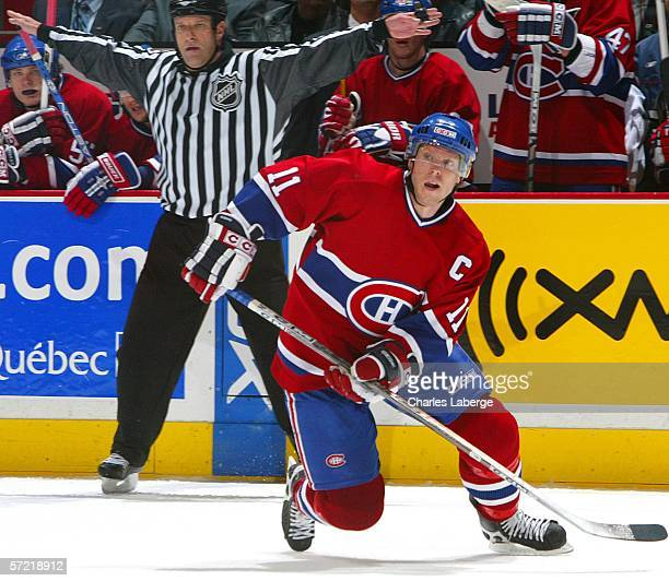 Saku Koivu of the Montreal Canadiens skates against the Washington Capitals at the Bell Centre March 30 2006 in Montreal Canada