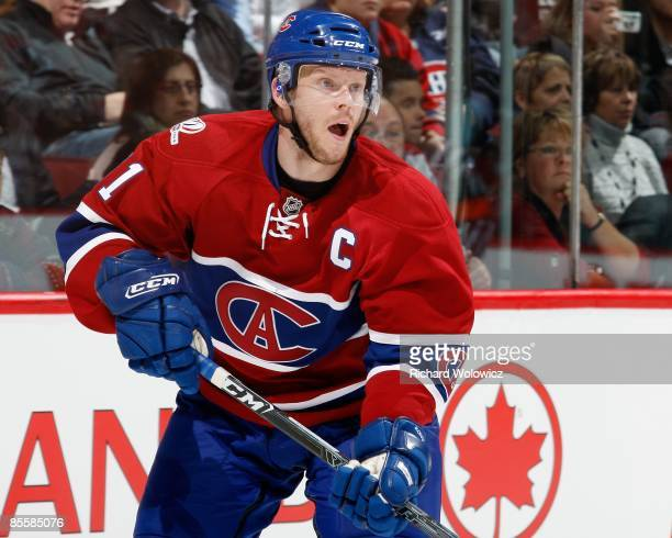 Saku Koivu of the Montreal Canadiens skates during the NHL game against the Toronto Maple Leafs at the Bell Centre on March 21, 2009 in Montreal,...