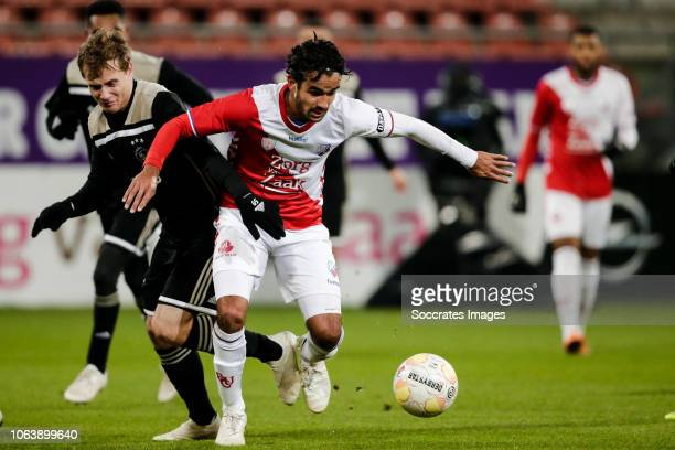 Saku Ylatupa of Ajax U23 Mitchell van Rooijen of FC Utrecht U23 during the Dutch Keuken Kampioen Divisie match between Utrecht U23 v Ajax U23 at the...