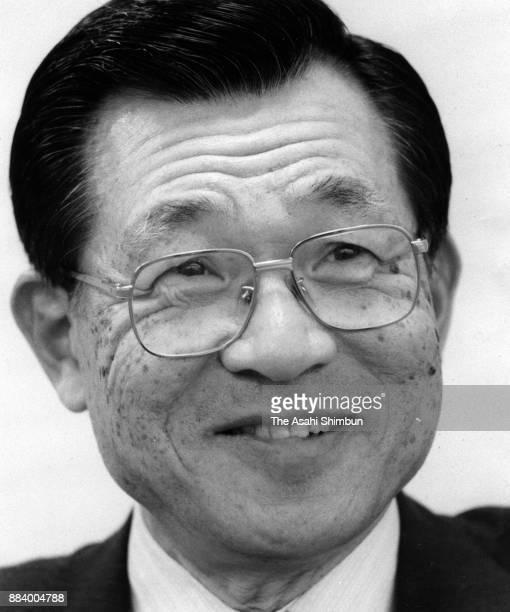 Sakura Bank President Kenichi Suematsu speaks during the Asahi Shimbun interview on April 8 1992 in Tokyo Japan